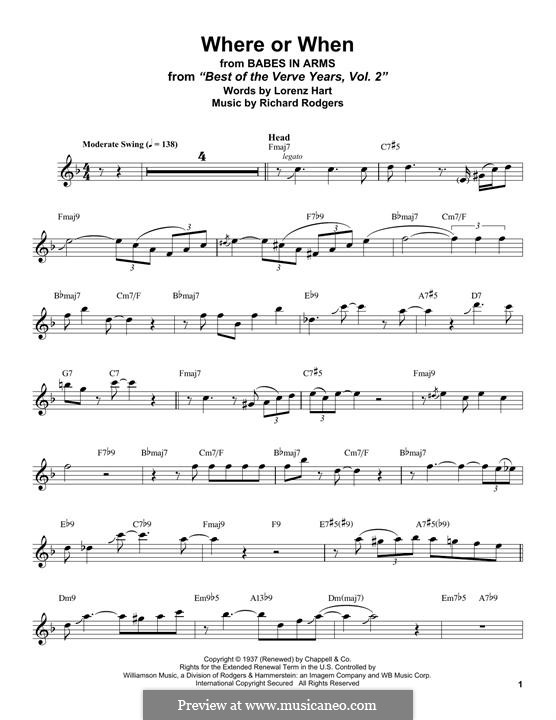 Where or When: para saxofone tenor by Richard Rodgers
