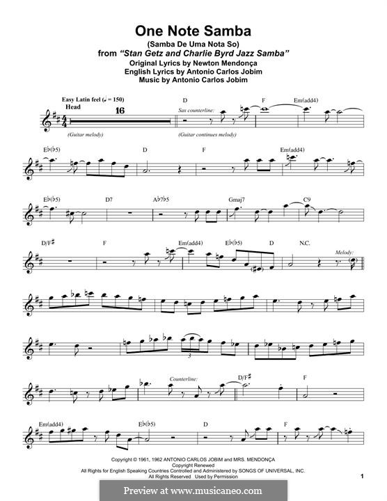 One Note Samba (Samba De Uma Nota): para saxofone tenor by Antonio Carlos Jobim