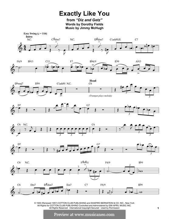 Exactly Like You: para saxofone tenor by Jimmy McHugh