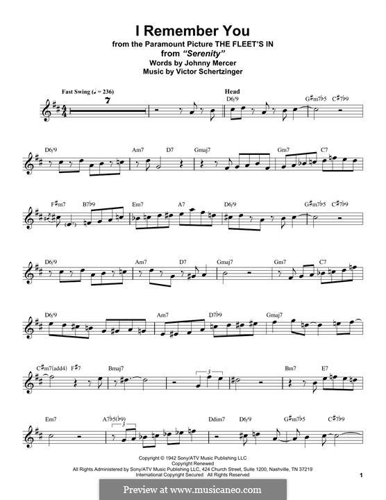 I Remember You (Diana Krall): para saxofone tenor by Victor Schertzinger
