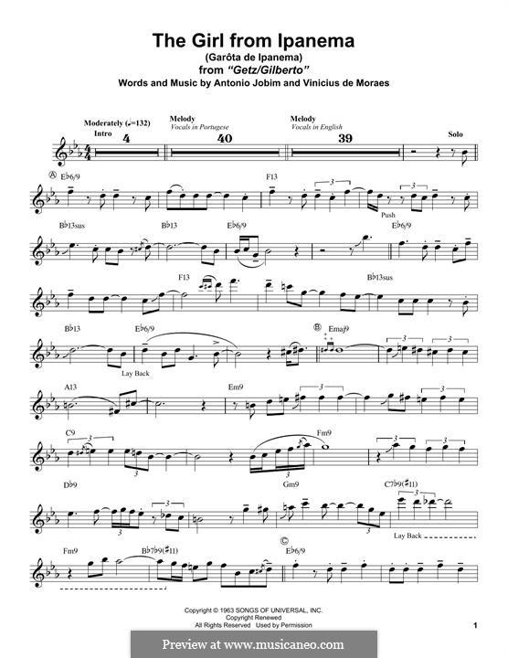 The Girl from Ipanema (Garota de Ipanema): para saxofone tenor by Antonio Carlos Jobim