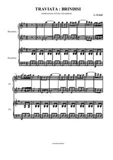 Libiamo ne'lieti calici (Brindisi): para piano de quadro mãos by Giuseppe Verdi
