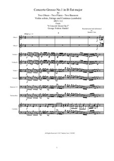 Six Concerti Grossi for Winds, Strings and Cembalo, Op.3: Concerto Grosso No.1 in B Flat Major, HWV 312 by Georg Friedrich Händel