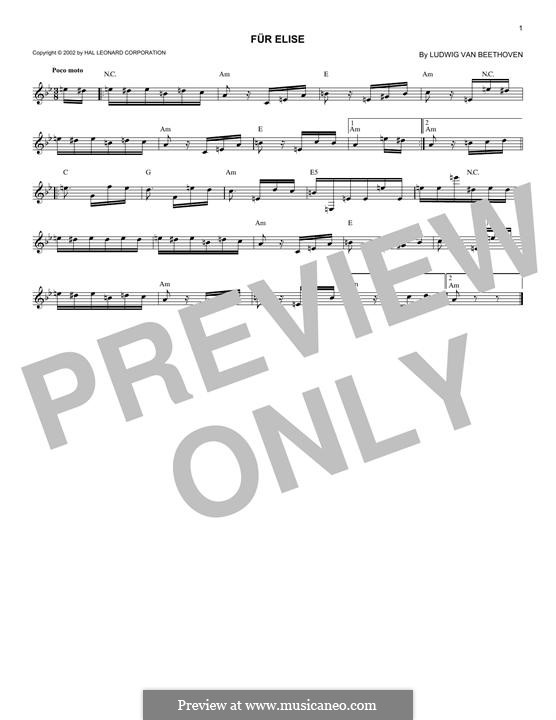 For Elise (Printable Scores): melodia by Ludwig van Beethoven
