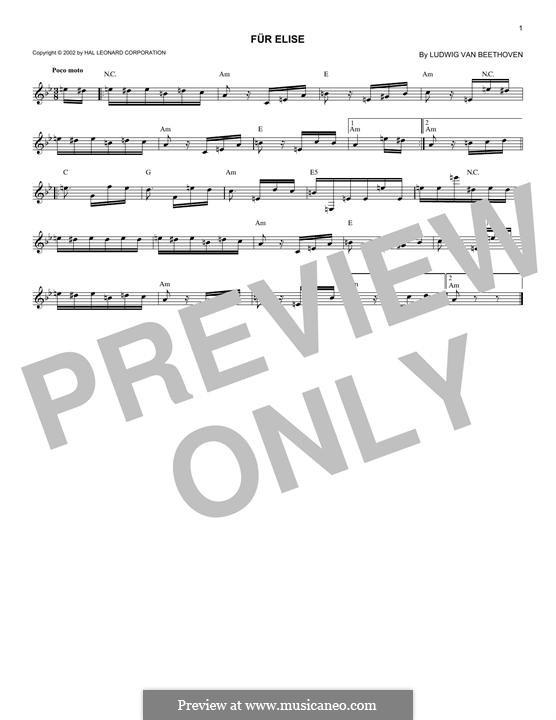 For Elise, WoO 59: melodia by Ludwig van Beethoven