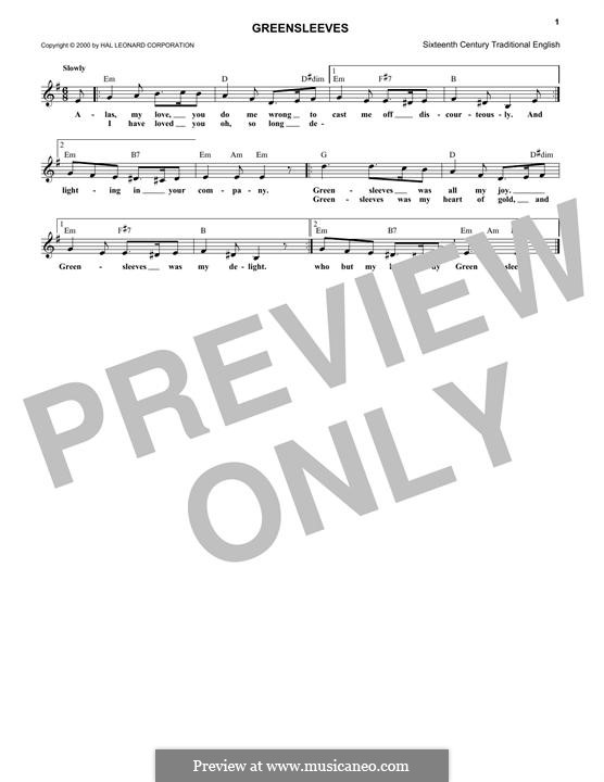 Greensleeves (Printable scores): melodia by folklore