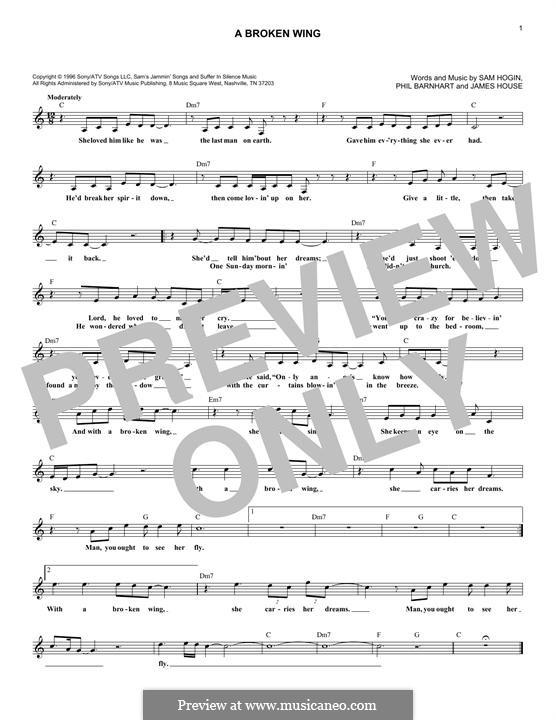 A Broken Wing (Martina McBride): melodia by James House, Phil Barnhart, Sam Hogin