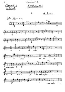 Symphony No.1 in C Major: clarinete parte I by Georges Bizet