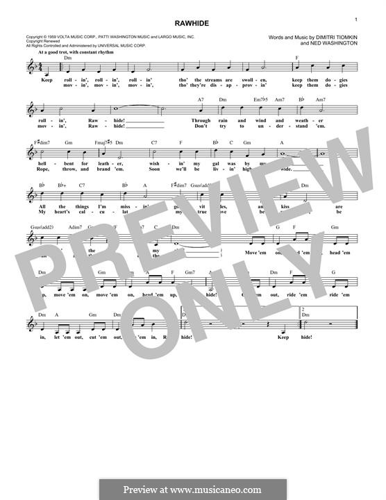 Rawhide (The Blues Brothers): melodia by Dimitri Tiomkin