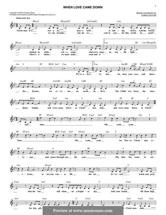 When Love Came Down (Point of Grace): melodia by Chris Eaton