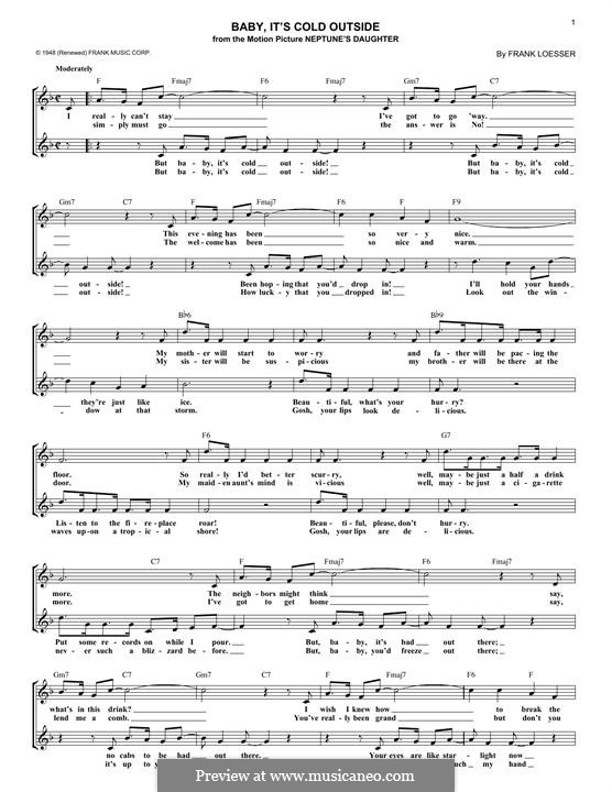 Baby, it's Cold Outside: melodia by Frank Loesser