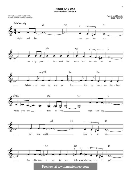 Night and Day (Frank Sinatra): melodia by Cole Porter