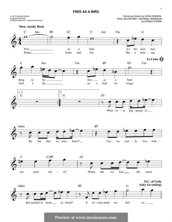 Free as a Bird (The Beatles) : melodia by John Lennon