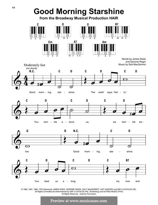 Good Morning Starshine (from Hair): melodia by Galt MacDermot
