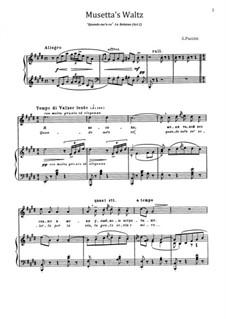 Quando men vo (Musetta's Waltz): Para vocais e piano by Giacomo Puccini