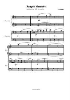 Viennese Blood, Op.354: para piano de quadro mãos by Johann Strauss (Sohn)