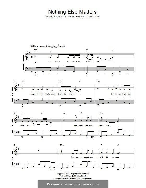 Nothing Else Matters (Metallica): Para Piano by James Hetfield, Lars Ulrich