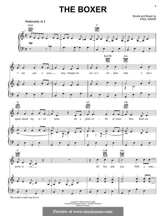 The Boxer: Para vocais e piano (ou Guitarra) by Paul Simon