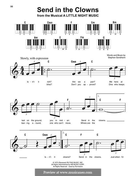 Send in the Clowns: melodia by Stephen Sondheim