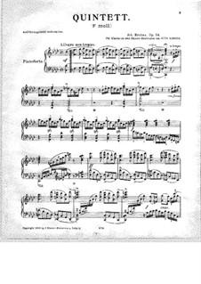 Piano Quintet in F Minor, Op.34: versão para piano by Johannes Brahms