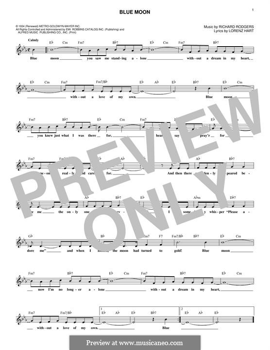 Blue Moon: melodia by Richard Rodgers
