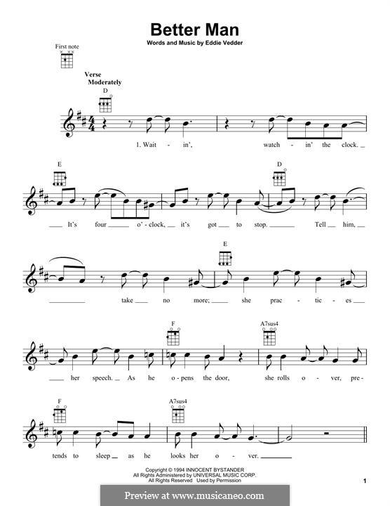 Better Man (Pearl Jam): para ukulele by Eddie Vedder