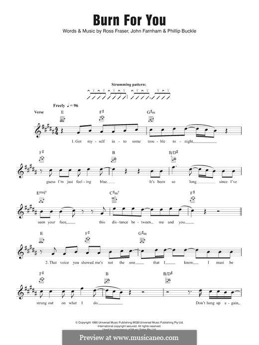 Burn for You (John Farnham): para ukulele by Philip Buckle, Ross Fraser
