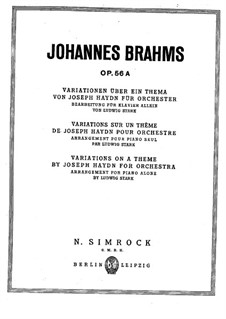 Variations on a Theme by Haydn, Op.56a: arranjo para piano by Johannes Brahms