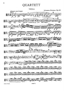 Piano Quartet No.3 in C Minor, Op.60: parte viola by Johannes Brahms