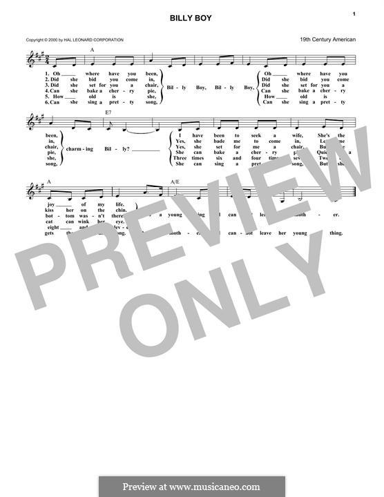 Billy Boy: melodia by folklore