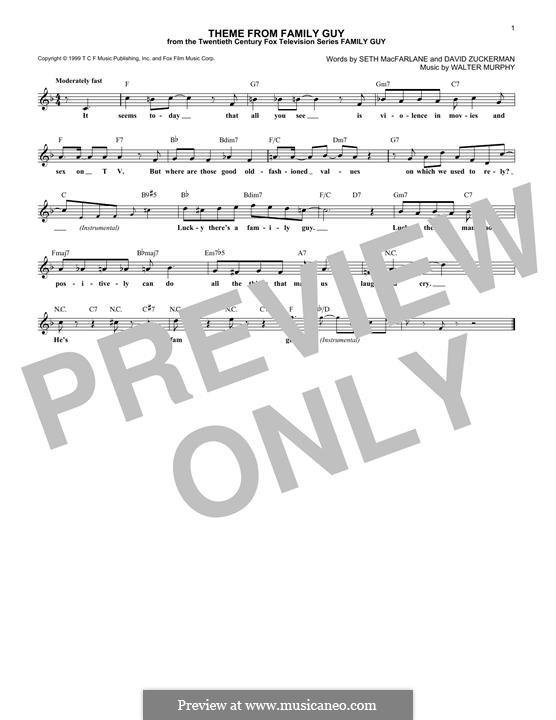 Theme from Family Guy: melodia by David Zuckerman, Seth MacFarlane, Walter Murphy