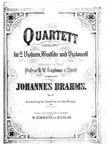 String Quartet No.3 in B Flat Major, Op.67: versão para piano by Johannes Brahms