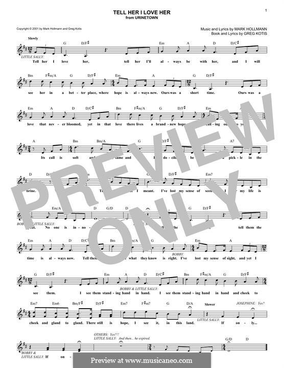 Tell Her I Love Her: melodia by Greg Kotis, Mark Hollmann