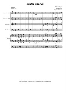 Bridal Chorus: For brass quartet - organ accompaniment by Richard Wagner
