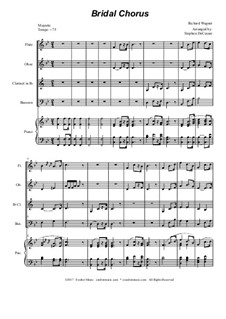 Bridal Chorus: For woodwind quartet - piano accompaniment by Richard Wagner