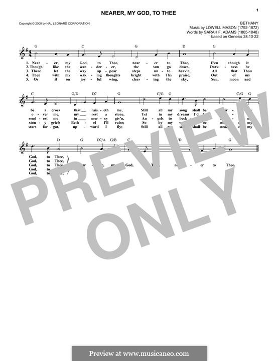 Nearer, My God, To Thee (Printable scores): melodia by Lowell Mason