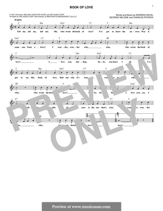 Book of Love (The Monotones): melodia by Charles Patrick, George Malone, Warren Davis
