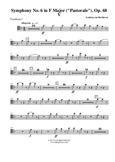 Movement V. The Shepherd's Song: Trombone in Tenor Clef 1 (transposed part) by Ludwig van Beethoven