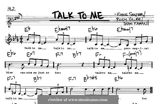 Talk To Me: For any instrument by Eddie Snyder, Rudy Valee, Stan Kahan