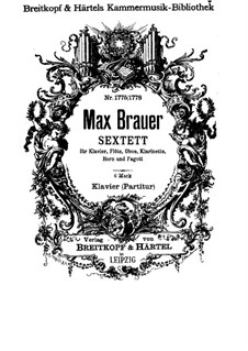 Sextet for Piano and Winds: partitura completa by Max Brauer