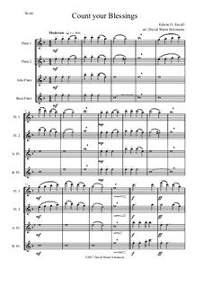 7 Songs of Glory for flute quartet (2 C flutes, alto flute, bass flute): Count your blessings by Robert Lowry, William Howard Doane, Charles Wesley, Jr., William Batchelder Bradbury, Charles Hutchinson Gabriel, Edwin Othello Excell, D. B. Towner