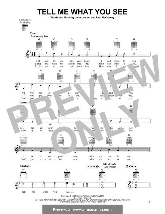 Tell Me What You See (The Beatles): Para guitarra com guia by John Lennon, Paul McCartney