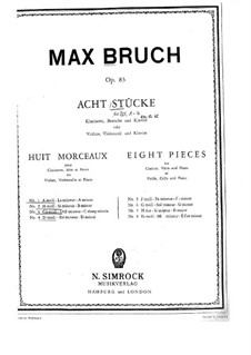 Eight Pieces, Op.83: partitura completa by Max Bruch