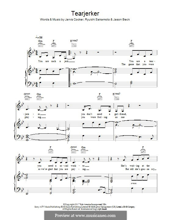 Tearjerker (Chilly Gonzales): Para vocais e piano (ou Guitarra) by Jarvis Cocker, Jason Beck, Ryuichi Sakamoto