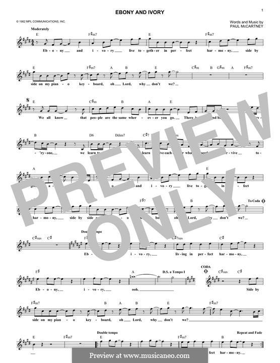 Ebony and Ivory: melodia by Paul McCartney
