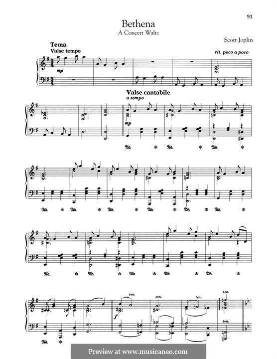 Bethena: Para Piano by Scott Joplin
