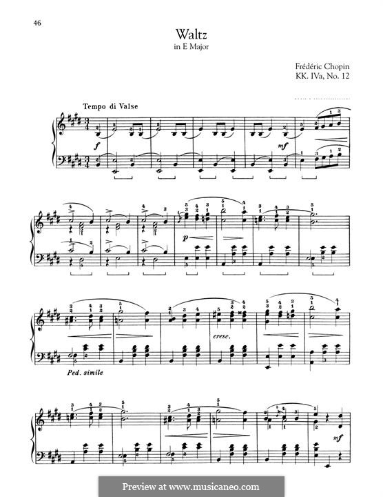 Waltz in E Major, B.44 KK IVa/12: Para Piano by Frédéric Chopin