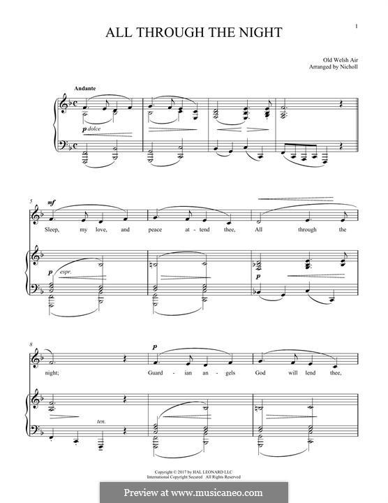 All Through the Night: Para vocais e piano by folklore