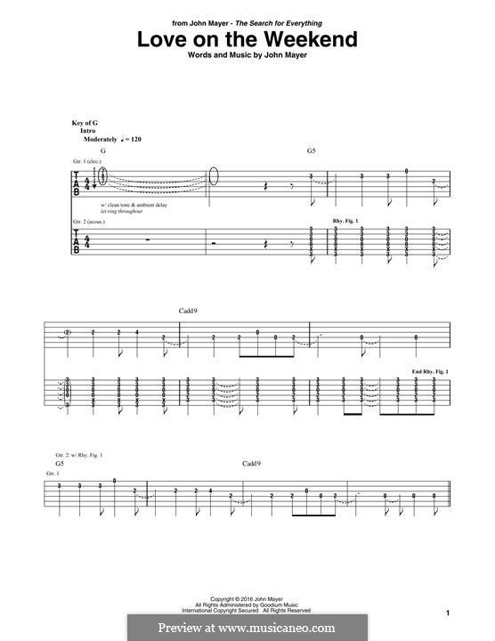 Love on the Weekend: Para guitarra com guia by John Mayer