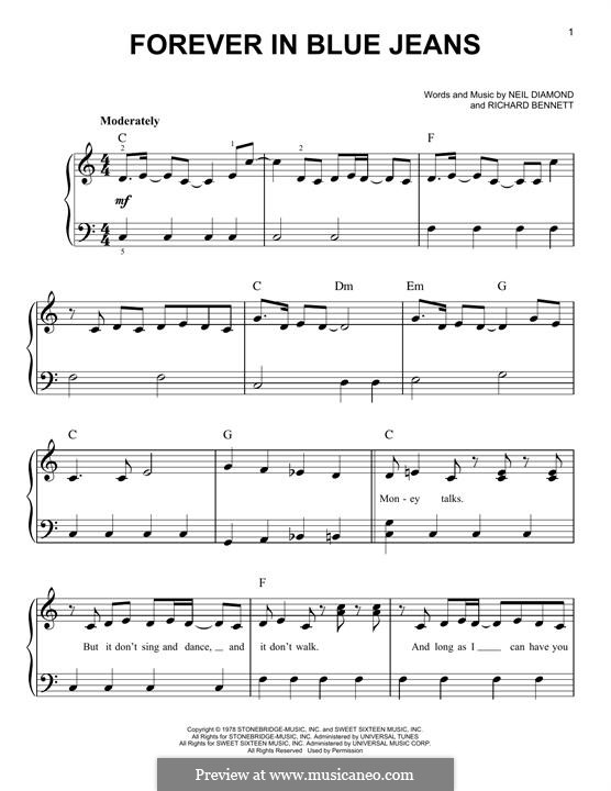 Forever in Blue Jeans: Para Piano by Richard Bennett